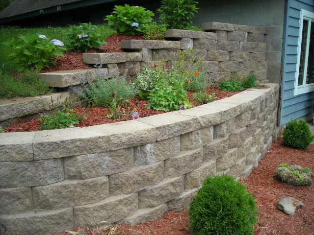 Landscaping Retaining Walls : Retaining Wall Landscaping And Light Grey Stone Garden Wall Ideas