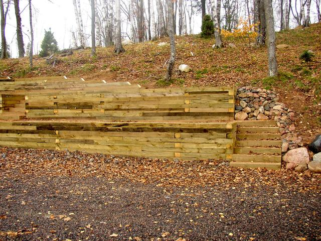 Timber Retaining Wall Designs timber and railroad tie retaining walls Treated Timber Retaining Wall